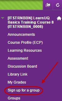 Sign up for group circled in the course menu