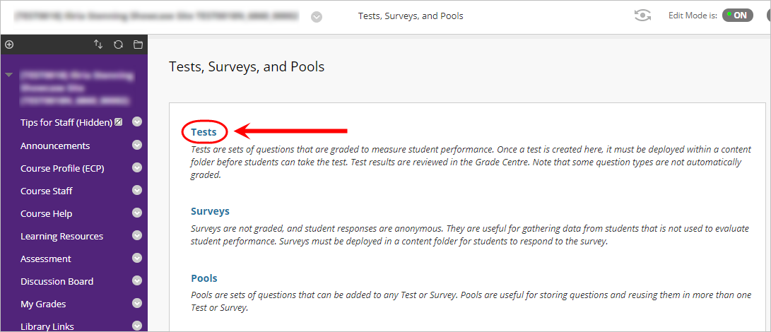 Tests, surveys and pools page with Tests circled.