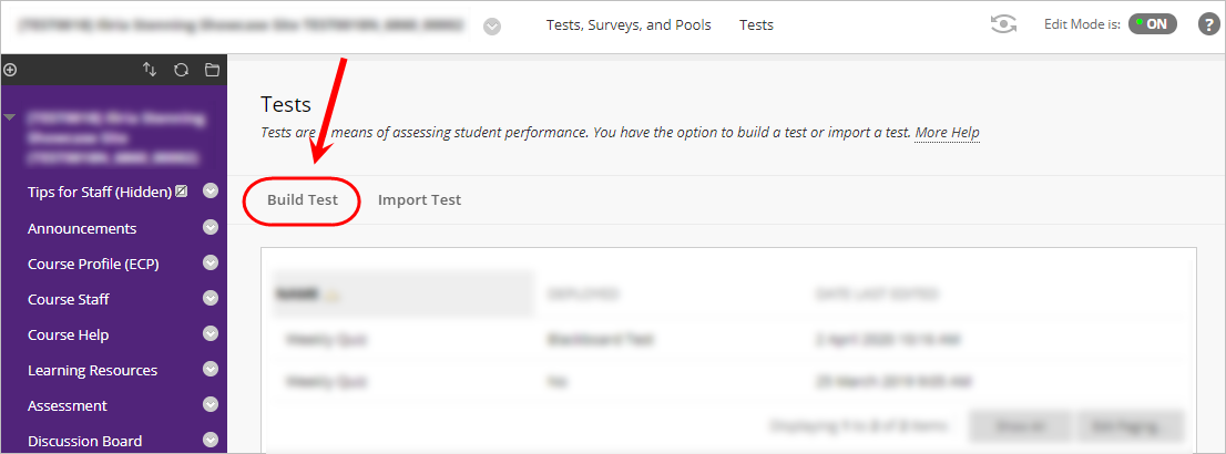 Tests page with Build Test button circled