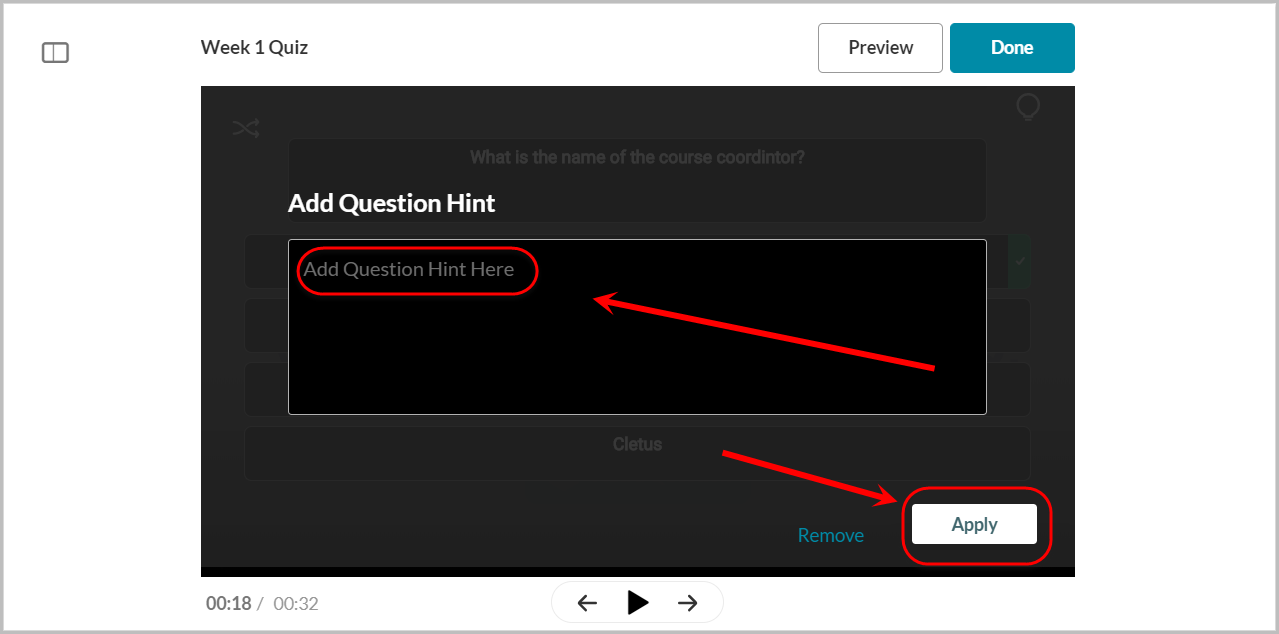 add question hint here textbox selected,apply button selected