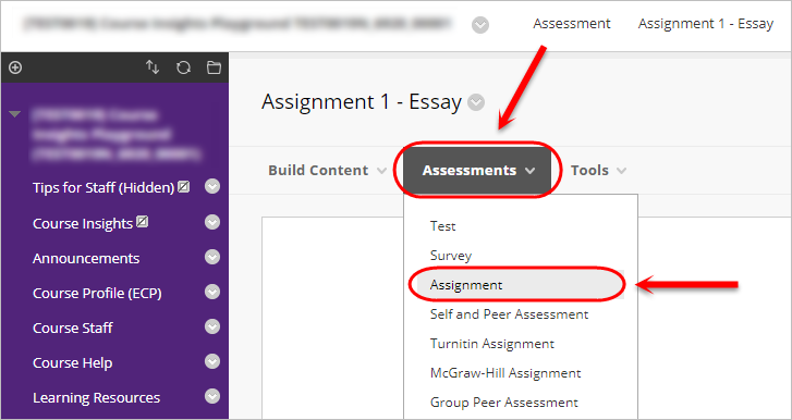 assessment and select assignment