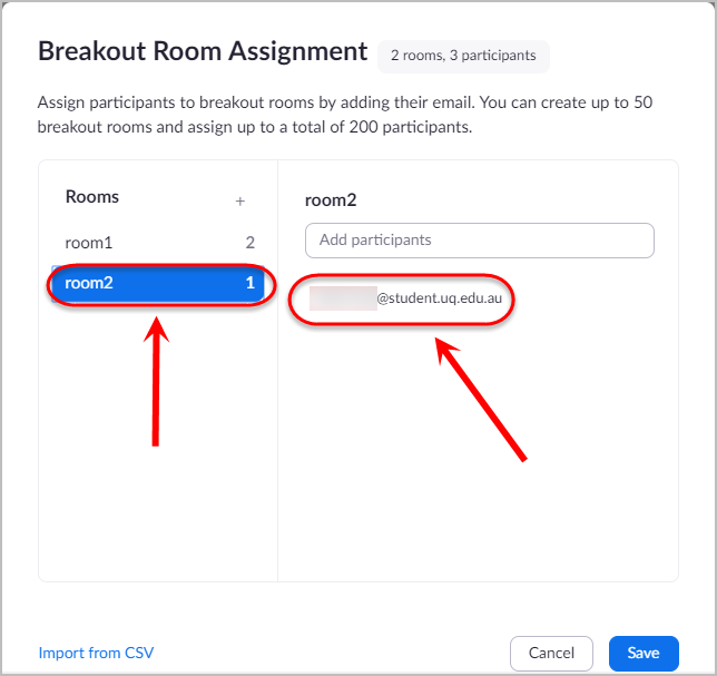 Room circled as well as an example email address