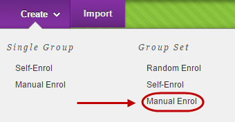 Create button circled with group set manual enrol circled in drop down menu