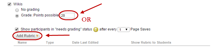 Points possible amount circled and the add rubric button circled