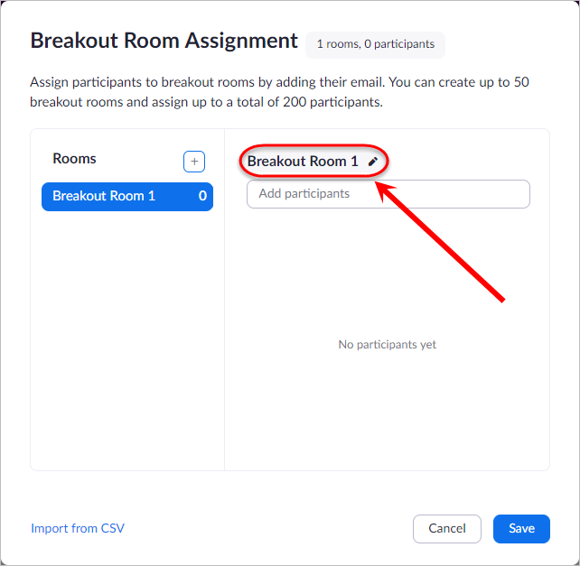 Breakout Room circled in right hand column
