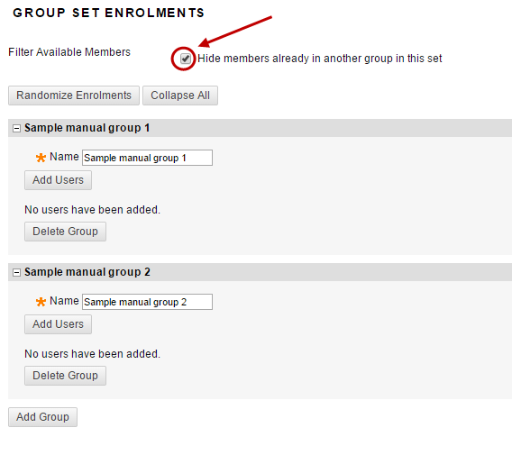 Group set enrolments with hide members already in another group checkbox selected