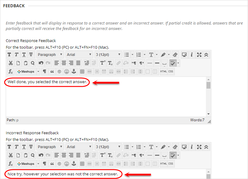 Feedback section with the correct response feedbask and incorrect response feedback text boxes circled