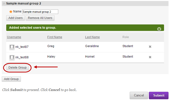 Group set enrolments page with the delete group button circled under the group to be deleted.