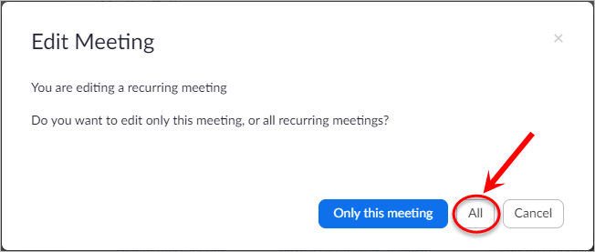 Only this meeting and All buttons circled