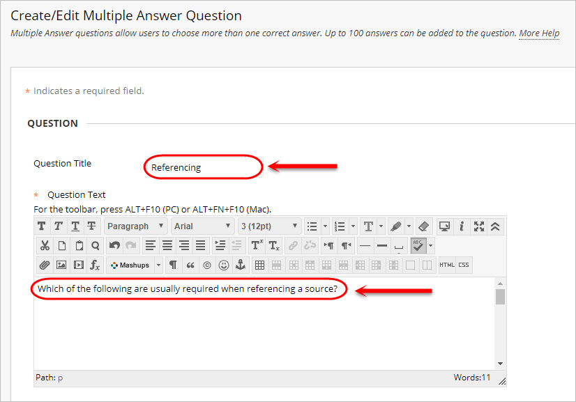 Question setup with question title and the question text box circled