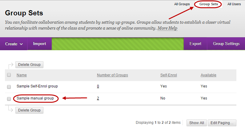 Groups page with group sets tab circled