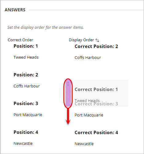 Answers ordering setup