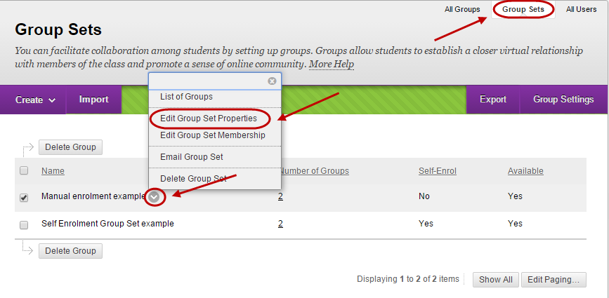 Groups page with group sets tab circled and down arrow circled next to group set and Edit group set properties circled from drop down menu