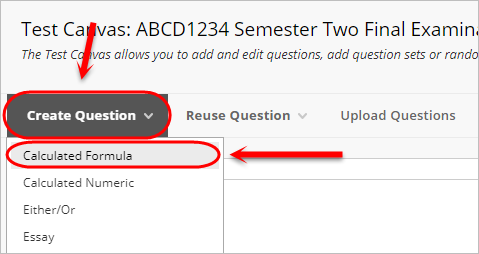 Create question button circled and calculated formula circled from drop down menu