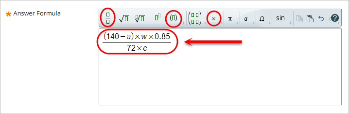 Answer formula box with an example formula in the box