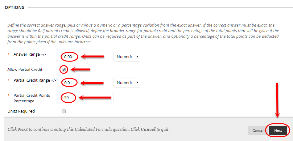 Options page with the Answer range, allow partial credit, partial credit range and partial credit points circled