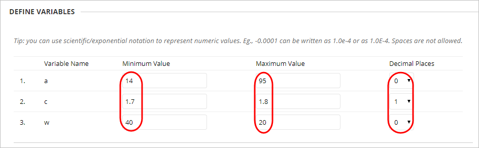 Define variables with minimum value, maximum value and decimal places boxes circled