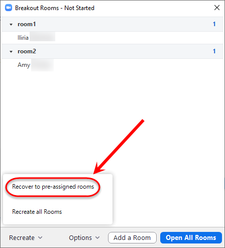 Recover to pre-assigned rooms button circled