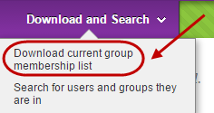 Download and search drop down menu with download current group membership list circled