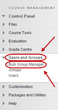 Control panel with Users and Groups circled and bulk group manager circled