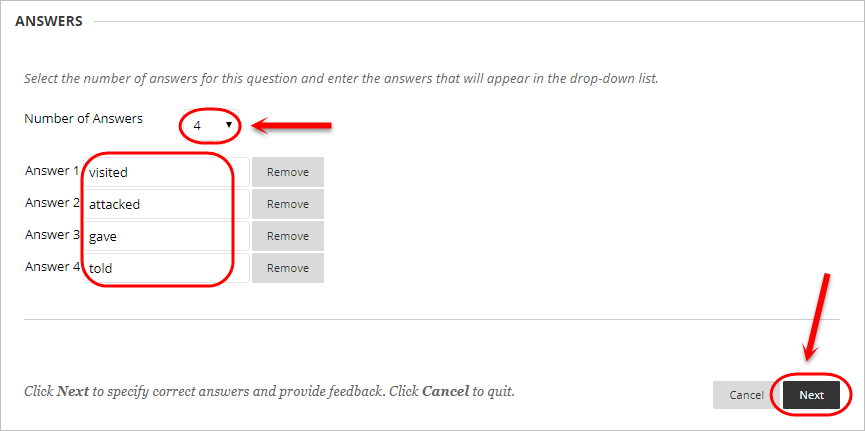 Answers section with number of answers drop down box circled and the answer text boxes circled.
