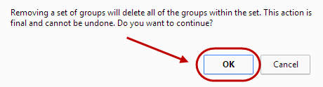 Delete group set confirmation screen with Ok circled.