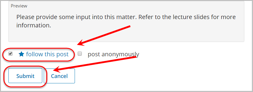 follow this post checkbox checked, submit button selected