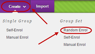 Create button circled and random enrol under group set circled in the drop down menu