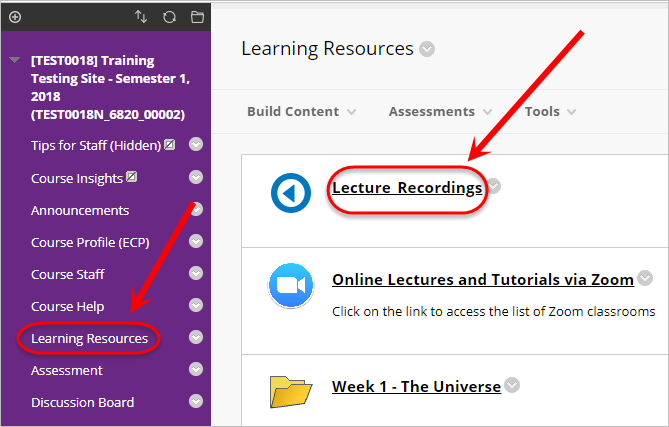 Learning resources and Lecture recordings circled