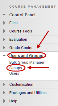 Control panel with users and groups circled as well as groups circled