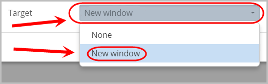 new window option selected from target drop-down menu