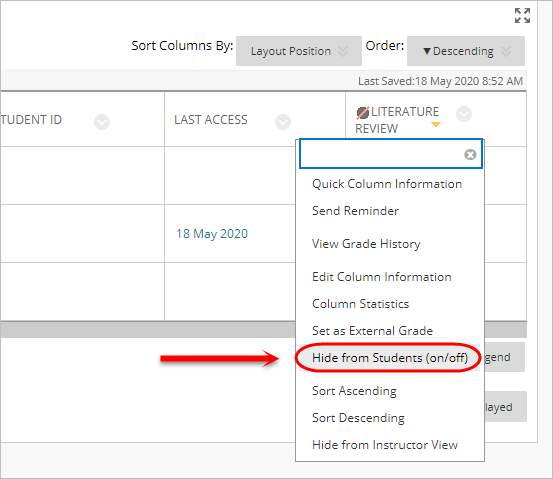 the hide from the students options is highlighted