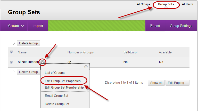 Groups page with group sets tab circled and drop down menu selected next to group set and Edit group set properties circled