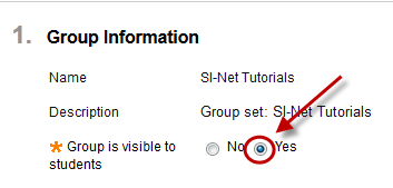 Group information with Yes radio button circled next to group is visible to students