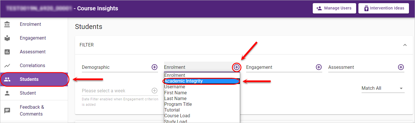students page and select academic integrity filter