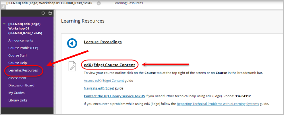 learning resources selected, edx edge course content link selected