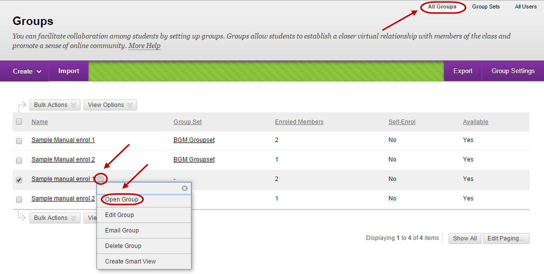 Groups page with all groups tab circled and down arrow circled next to group and open circled from the drop down menu