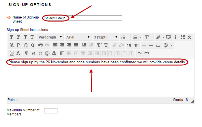 Sign up options with sign up sheet name and sign up sheet instructions circled