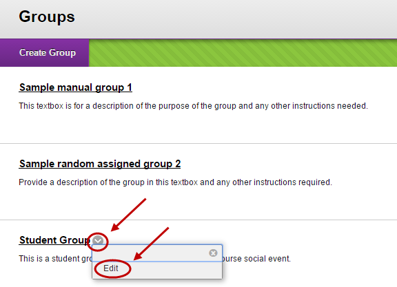 Student view of groups page with the down arrow and edit circled next to the student created group