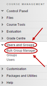 Control panel with bulk group manager circled under users and groups