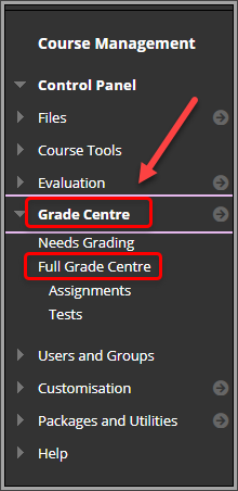 Grade Centre and full grade centre circled