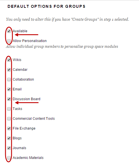Default options for groups