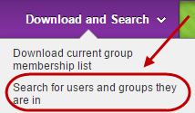 Download and search drop down menu with search for users and groups they are in circled.