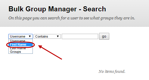 Bulk group manager search with first drop down box selected and First Name circled