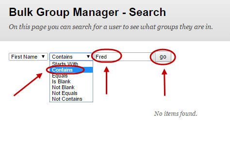 Bulk group manager search with second drop down box selected and contains circled, name in the text field circled and the go button circled