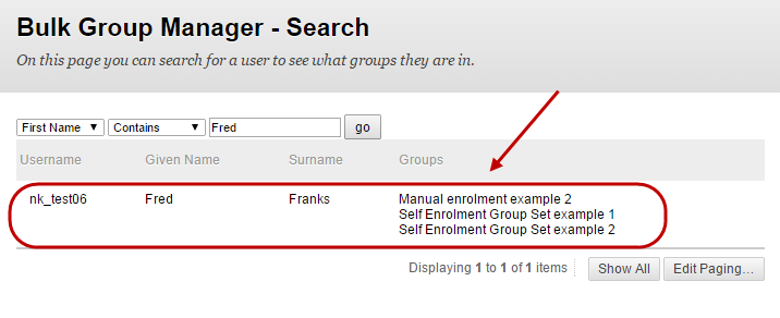 Bulk group manager search screen with the search results circled