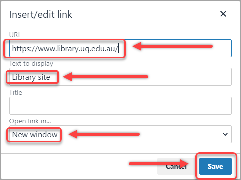 url textbox selected, text to display textbox selected, new window option selected, save button selected