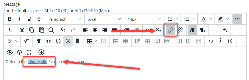 insert/edit link icon selected