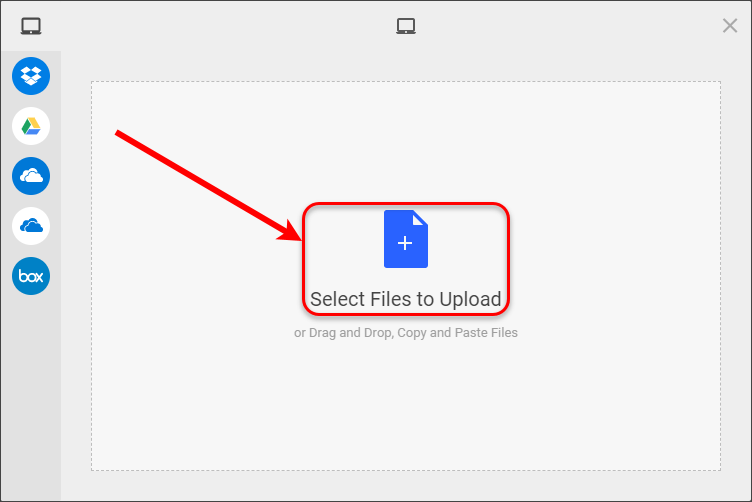 Select Files to Upload circled.