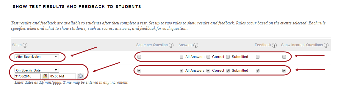 Show test results and feedback to students with both row of settings circled